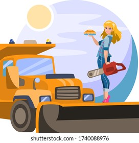 Girl on a snowplow. A girl with tools. Strong woman housewife and professional