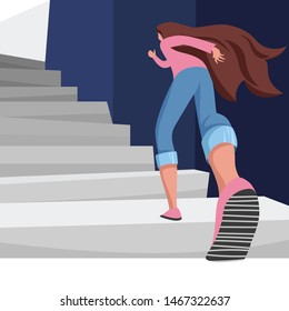 the girl on the stairs. the woman goes to the exit. a woman climbs up the stairs