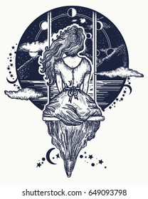 Girl on swing flies to sky tattoo art.  Symbol of dream,love, imagination, adventures