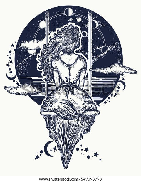 Galexy Girl Swinging Tattoo: Girl On Swing Flies Sky Tattoo Stock Vector (Royalty Free