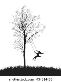 girl on a swing. Tree on white background