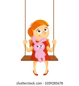 Girl on a swing vector illustration