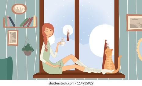 Girl  on a windowsill