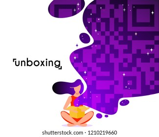 Girl open box in flat style. Cartoon character vector illustration. Concept of unboxing of parcel.