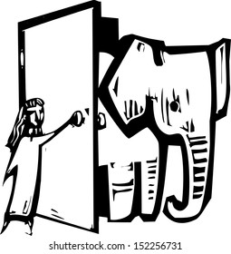 Girl opening a door to let an elephant into her house.