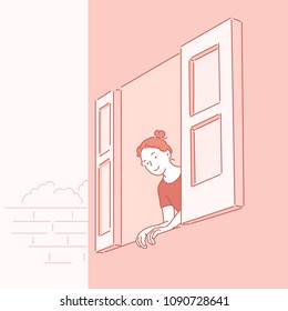 Girl opening a window and looking out. hand drawn style vector doodle design illustrations.