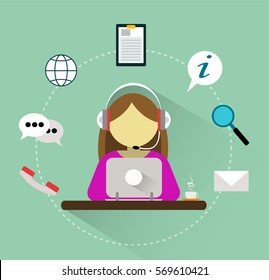 Girl operator of call center. Vector 24h customer support service icons concept. Flat style illustration