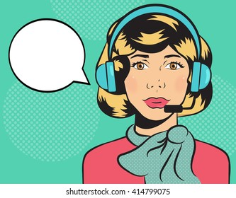 Girl. The operator on the phone. Headphones and microphone. Vector isolated illustration. Cartoon character.