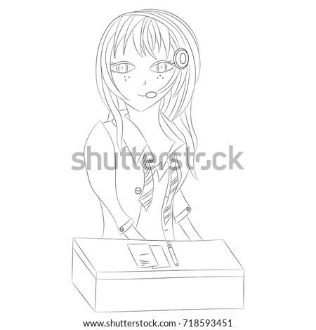 girl operator vector illustration anime black outline stock vector