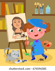 Girl painting in her atelier with palette, brushes, paints and a cute cat. Cartoon vector illustration.