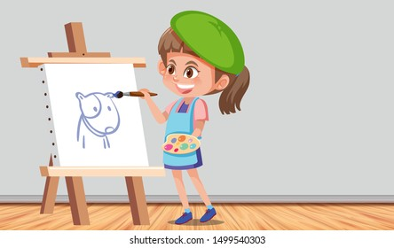 Girl painting a picture in a room illustration