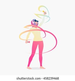 Girl paints abstract lines in virtual reality. Vector illustration