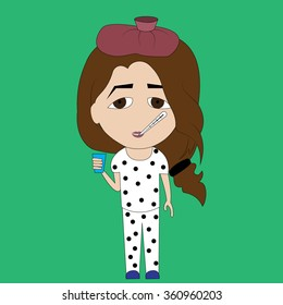 girl in pajamas with a hot water bottle on your head it measures the temperature