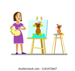 A girl with a palette draws a still life. .Vector illustration in cartoon style.