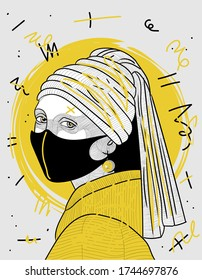 Girl with a Pearl Earring. Portrait with mask. Creative geometric yellow style. Coronavirus / Pandemic