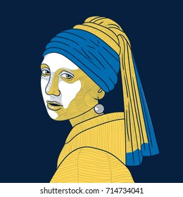 Girl with a Pearl Earring. Vector illustration. T-Shirt Design and Printing, clothes.