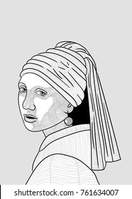 Girl with a Pearl Earring. Vector illustration.