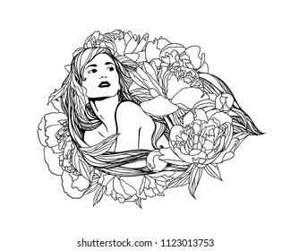 Girl with peony flowers in long hair. Vector linear illustration