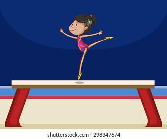 Girl performing gymnastics on a board, balance beam