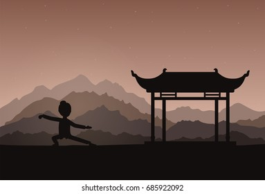 Girl performing qigong or taijiquan exercises in the evening. Woman practicing Tai Chi. Ancient chinese healthcare practice. Flat style. Vector illustration.