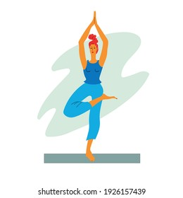 Girl performs yoga exercises - vector illustration