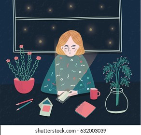Girl with phone at night. Young woman sitting at the table and waiting for call. Colorful vector illustration in cartoon style.