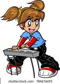 Girl Piano Keyboard Player vector anime manga clipart cartoon