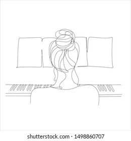 Girl with piano. Piano logo. Musical vector logo. Minimal print. Woman with piano