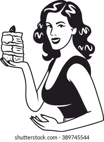 girl with a piece of cake black sign