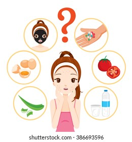 Girl With Pimples On Her Face And Treatment Icons Set, Beauty, Cosmetic, Makeup, Healthy, Lifestyle
