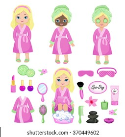 Girl in pink bathrobe takes spa treatments.Vector illustration isolated on background.