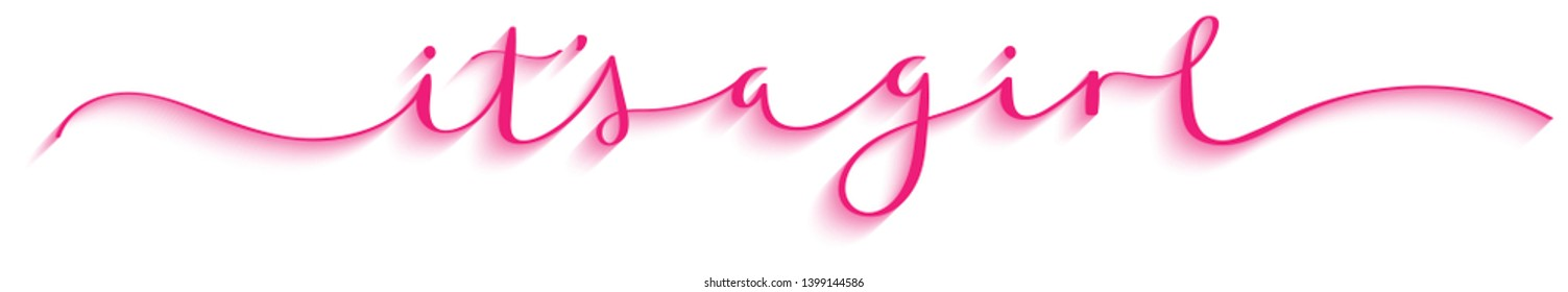 IT'S A GIRL pink brush calligraphy banner