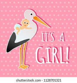 It's a girl, pink cartoon baby shower greeting card. Vector design with stork and baby.