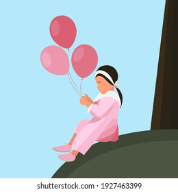A girl in a pink dress with balloons sitting in a clearing. Delicate children's postcard. Background image for a sales site. Child on the background of the landscape.