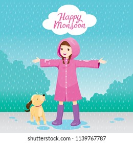 Girl In Pink Raincoat Stretch Arms Happily In The Rain With Her Dog, Monsoon, Rainy Day, Season, Raindrop, People, Relationship, Soaked