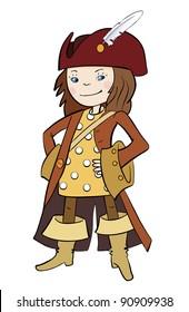 Girl pirate. Vector illustration