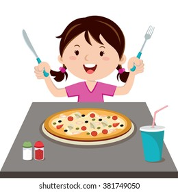 Girl and pizza. Vector illustration of a little girl hold knife and fork.