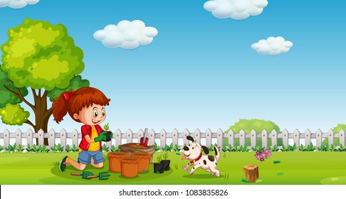 A Girl Planting at Garden with Dog illustration