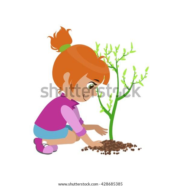 Image Vectorielle De Stock De Fille Plantant Un Arbre Colore