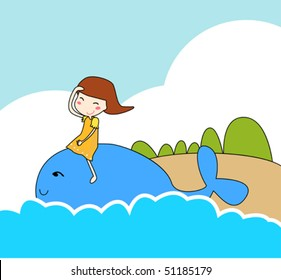 Girl play with blue whale