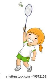 Girl Playing Badminton - Vector