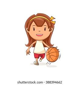 Girl playing basketball, vector illustration