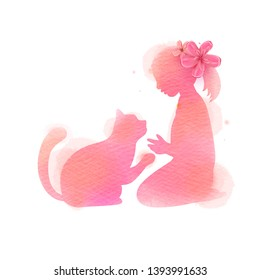 Girl playing with cat silhouette on watercolor background. The concept of trust, friendship and pet care. Digital art painting. Vector illustration