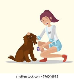 Girl playing with Dog. Playing ball. Flat style. Vector illustration