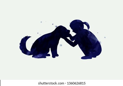 Girl playing with dog  silhouette on watercolor background. The concept of trust, friendship and pet care. Digital art painting