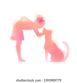 Girl playing with dog  silhouette on watercolor background. The concept of trust, friendship and pet care. Digital art painting. Vector illustration