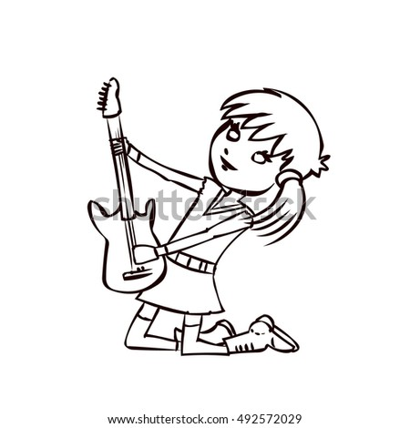 Electric Guitar Cartoon Drawing