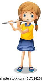 Girl playing flute alone illustration