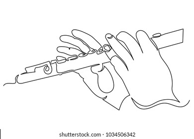 Girl playing the flute. The musician's hands are close-up. One continuous drawing line drawn by hand on a white background.
