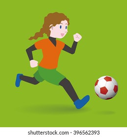 girl playing football, young woman soccer player, vector illustration